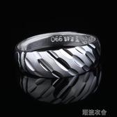 戒指男 99銀日韓版個性霸氣車花開口單身男士潮人學生食指環  潮流衣舍