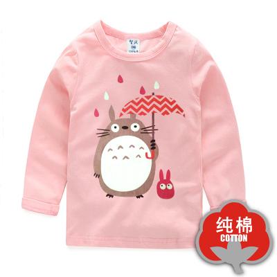 女Baby女童粉色長袖T恤可愛龍貓純棉T恤春秋休閒上衣現貨