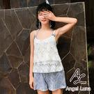 比基尼泳裝-日本品牌AngelLuna 日本直送 藍色印花連身褲三件式比基尼溫泉沙灘泳衣