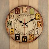 全館免運八折促銷-14寸歐式復古鐘表掛鐘客廳家用臥室簡約時鐘圓形創意靜音掛表掛件jy 萬聖節