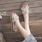 涼鞋 透氣懶人鞋厚底休閒鞋休閒鞋沙灘拖鞋女夏新款外穿時尚百搭海邊 【8折搶購】