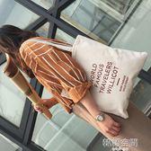 韓國ulzzang街拍原宿復古風字母帆布袋文藝學院單肩包女簡約布袋 韓語空間