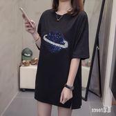 大尺碼T恤女 2019夏季新款韓版質中長款短袖女寬鬆上衣潮 JY4667【Sweet家居】