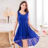 中大尺碼~甜美珠鏈雪紡連衣裙(F~3XL)