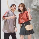 超火的情侶裝夏裝bf寬鬆正韓潮人學生班服學院風同款短袖t恤女三角衣櫥