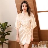 睡袍女夏季薄款短袖仿真絲綢新娘晨袍冰絲睡衣女夏天浴衣浴袍大碼「錢夫人小鋪」