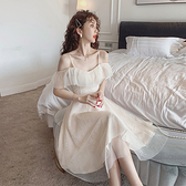 禮服 2021夏季新款性感禮服網紗吊帶洋裝女收腰大擺氣質a字中長裙子