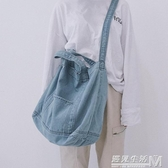 帆布包日系韓版ulzzang 女學生單肩包牛仔帆布袋購物袋斜背包  雙十二全館免運