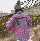 EASON SHOP(GU4866)後綁帶繩子格子前短後長格紋長袖襯衫綁帶子蝴蝶結女上衣服素色秋冬裝韓版寬鬆