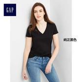 Gap女裝 基本款純色V領純棉短袖T恤女裝 283152-純正黑色