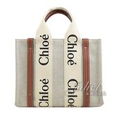 茱麗葉精品【全新現貨】CHLOE Woody 經典LOGO織帶帆布托特包.米/咖 小