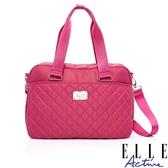 背包族【ELLE active】生活印記系列-旅行袋/ 托特包/ 購物袋(桃紅色)