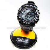 JAGA 捷卡 電子錶 亮面黑色橡膠 44mm 男錶 運動錶 學生錶 軍錶 日期 計時碼表 M932-A