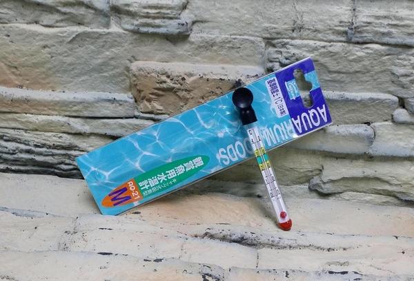 【西高地水族坊】日本原裝NISSO 索尼 觀賞魚用水溫計 迷你透明玻璃溫度計M 12cm