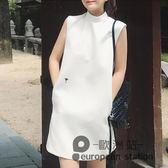 無袖洋裝/夏季新款韓國白色刺繡直筒背心連身裙氣質中裙顯瘦A字裙「歐洲站」
