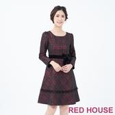 【RED HOUSE 蕾赫斯】蝴蝶結剪接洋裝(共2色)