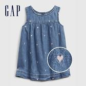Gap嬰兒 可愛愛心無袖牛仔洋裝 649993-淺色水洗