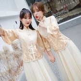 中式伴娘服冬2019新款香檳色中國風伴娘團結婚秀禾禮服姐妹裙長袖
