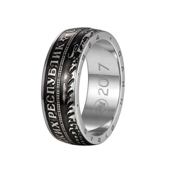 EDJ銀飾店-盧布硬幣鈦鋼戒指(9114)