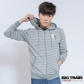 BIG TRAIN  男版條紋連帽外套-男-灰藍/麻灰