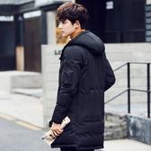 羽絨夾克-連帽韓版時尚休閒中長版男外套2色73qb30【巴黎精品】