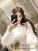 洋裝/法式裙白色羽毛流蘇闊太太連身裙女長袖名媛氣質長裙