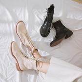 手工真皮女鞋 2019秋冬新款真皮女靴 系帶馬丁靴 英倫風機車靴 ~2色