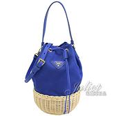 茱麗葉精品【全新現貨】PRADA 1BH115 三角LOGO帆布草編拼接手提兩用水桶包.藍