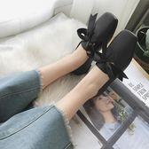 蝴蝶結平底英倫單鞋百搭韓版復古奶奶鞋學生豆豆鞋潮    琉璃美衣