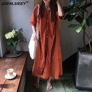 孕婦夏裝襯衫裙純色單領外出職業款洋裝 麥...