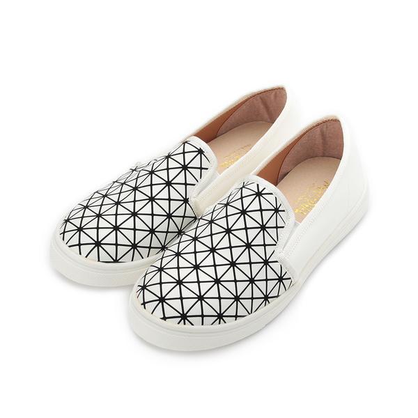 MATERIAL 菱格幾何休閒鞋 白 36103 女鞋 鞋全家福