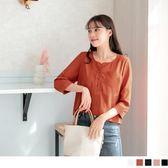 《AA4144》半開襟排釦單口袋小格紋上衣‧4色 OrangeBear