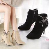 細跟靴歐美春秋新款尖頭女靴短靴細跟馬丁靴百搭蝴蝶結單靴及裸靴女 喵小姐