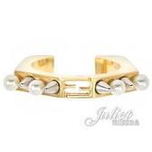 茱麗葉精品【全新現貨】FENDI 8AG712 雙F LOGO珍珠鉚釘寬版環戒.金