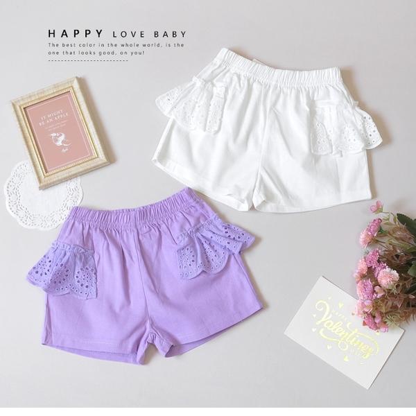 純棉 氣質雕花蕾絲造型短褲 春夏童裝 女童短褲 女童褲裙 女童寬褲 女童褲子