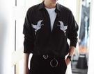 找到自己 品牌 時尚休閒 男士 飛鶴刺繡襯衫 翻領 長袖襯衫