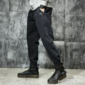 加絨秋冬款男士牛仔褲男寬鬆哈倫束腳休閒加肥加大碼胖子冬季褲子  【PINK Q】