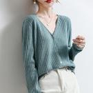 空調衫 春新款上衣純色羊毛衫v領開衫外套女針織短款外穿洋氣空調衫-Ballet朵朵