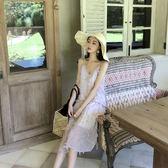 連衣裙2018夏季新款港味chic風深V領中長款寬鬆吊帶雪紡露肩低胸