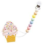 加拿大 Loulou lollipop 草莓霜淇淋固齒器組/奶嘴鍊夾 棉花糖