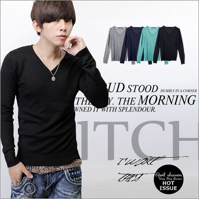 ∥柒零年代∥Hot Issues【N7711J】韓系都會輕熟感溫暖型男簡約穿搭素色V領針織衫(JK9986)