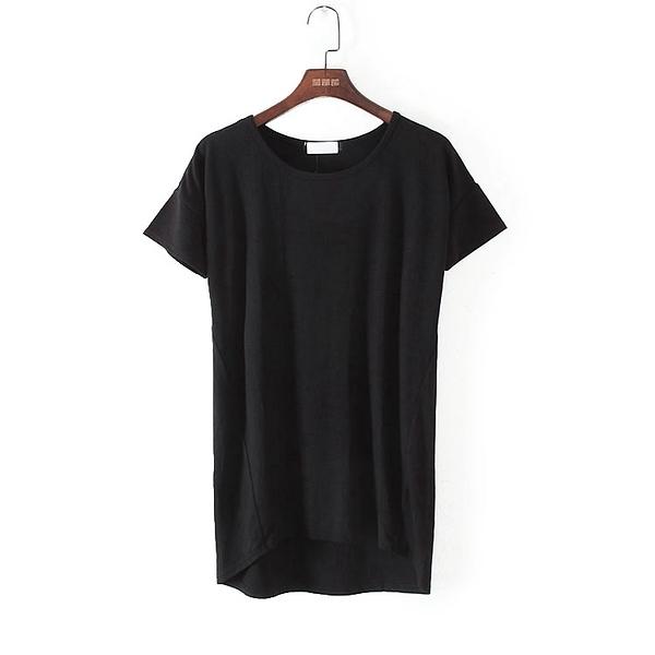 [超豐國際]麥春夏裝女裝黑色純色顯瘦極簡休閑T恤 44632(1入)