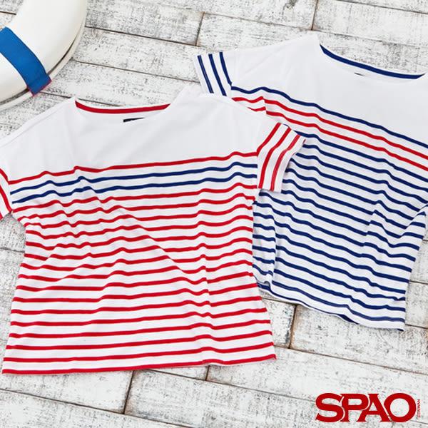 韓國品牌/SPAO女款經典撞色條紋T恤-共2色