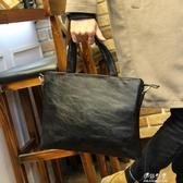 男包新款潮流公事包男士包商務手提包橫款單肩包斜背休閒背包(速出)