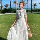 洋裝仙女裙短袖S-XL蕾絲鏤空連身裙海邊拍照三亞沙灘裙女超仙波西米亞長裙T356-9322.胖胖唯依