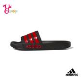adidas拖鞋ADILETTE男女鞋 拖鞋運動拖鞋浴室室內室外防滑舒緩情侶鞋 S9324#黑紅◆OSOME奧森鞋業