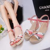 2018夏季涼鞋舒適休閒軟妹女鞋中跟韓版性感露趾氣質優雅學生坡跟