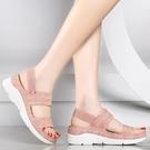 坡跟涼鞋2021夏季新款坡跟涼鞋女鬆糕厚...