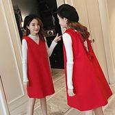 孕婦裝秋冬上衣新款時尚款打底衫背帶連身裙紅色寬鬆兩件套裝【卡米優品】