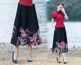 【免運】洋裝 秋民族風印花 女裝棉麻復古花布 拼接渡假旅行半身裙長裙 隨想曲